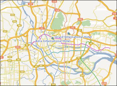 Guangzhou Hotels Map Map of Guangzhou China
